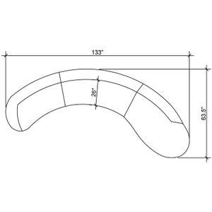 "Serpentine Velvet 3pc. Sectional - 133"" W x 63.5"" D x 34.5"" H"