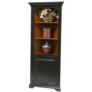 Tennessee Enterprises - Corner Bookcase w/Door, Fixed Shelves,Birch/Ply