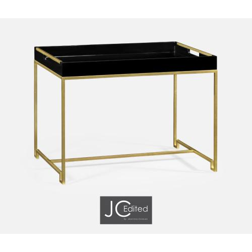 Gilded iron tray table in Smoky black top