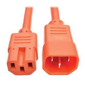 Power Cord C14 to C15 - Heavy Duty, 15A, 250V, 14 AWG, 6 ft., Orange