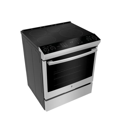 """GE Profile 30"""" Electric Slide-In Induction Range with Storage Drawer Stainless Steel - PCHS920SMSS"""
