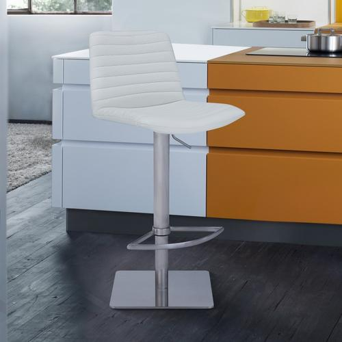 Armen Living - Carson Contemporary Adjustable Barstool in Brushed Stainless Steel Finish and White Faux Leather