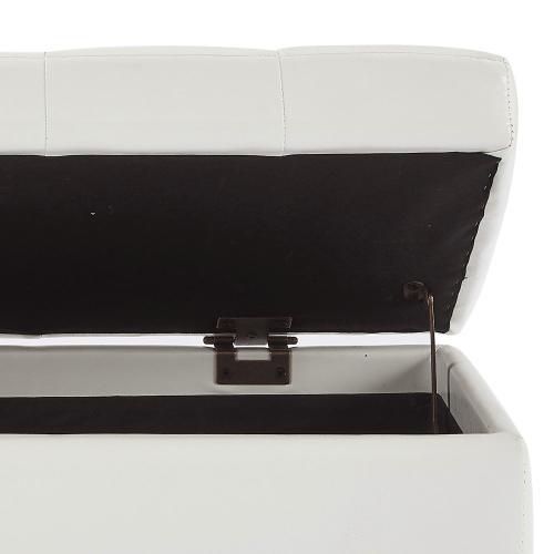 Winston Rectangular Storage Ottoman in White