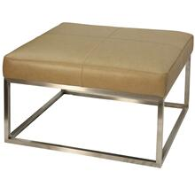 Genuine Camel Leather Ottoman with Brushed Steel Metal Frame Base