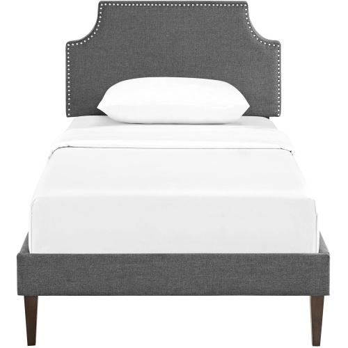 Corene Twin Fabric Platform Bed with Squared Tapered Legs in Gray