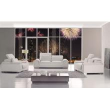 Divani Casa T93 - White Bonded Leather Sofa Set