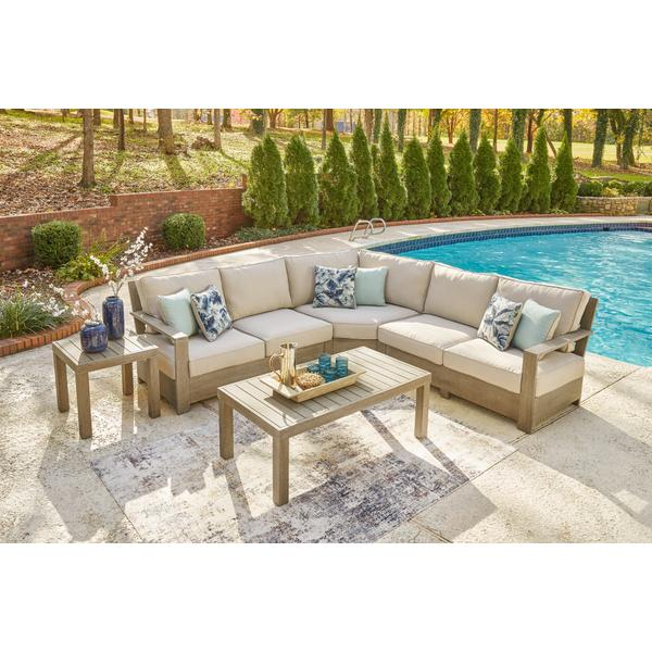 See Details - 3-piece Outdoor Sectional With Coffee Table and End Table