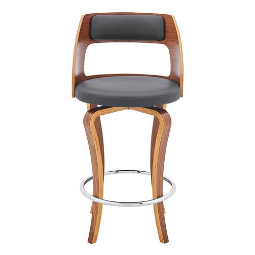 "Grady 26"" Swivel Gray Faux Leather and Walnut Wood Bar Stool"