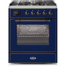 Majestic II 30 Inch Dual Fuel Liquid Propane Freestanding Range in Blue with Bronze Trim