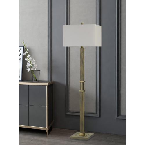 Tineo Wood Floor Lamp With Hardback Rectangular Shade