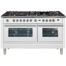 See Details - Professional Plus 60 Inch Dual Fuel Natural Gas Freestanding Range in White with Chrome Trim