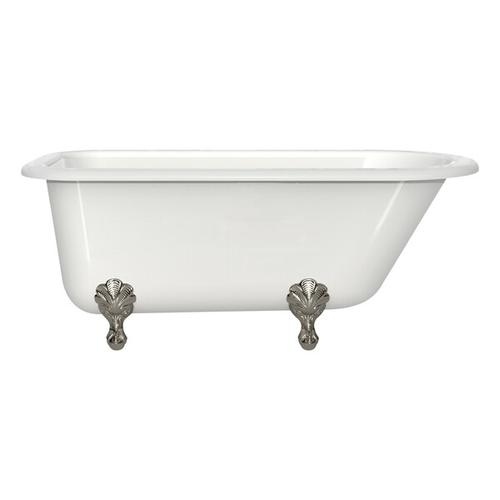Wessex 60 Inch X 30 Inch Freestanding Soaking Bathtub in Volcanic Limestone™ with Overflow Hole - Gloss White