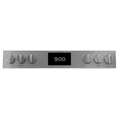 "Café 30"" Smart Slide-In, Front-Control, Dual-Fuel Range in Platinum Glass"
