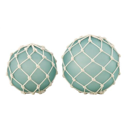 Fisher Buoys Decoration Wrapped with Bleached Rope,Set of 2