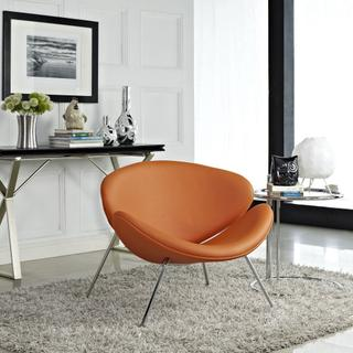 Nutshell Upholstered Vinyl Lounge Chair in Orange