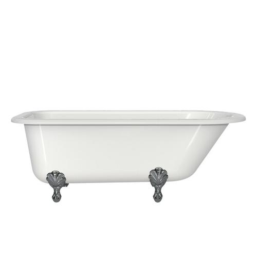 Product Image - Hampshire 67-1/8 Inch X 30-1/2 Inch Freestanding Soaking Bathtub in Volcanic Limestone™ with Overflow - Gloss White