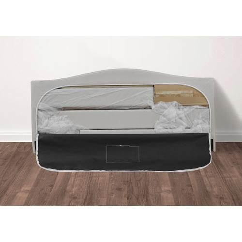 Queen All-In-One Shaped Corners Grey Upholstered Bed with Storage Footboard