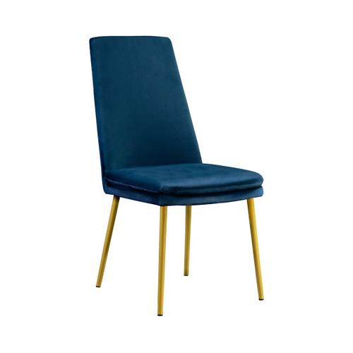 Modern Upholstered Dining Chair in Blue Velvet (2pc)