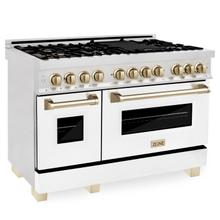 """View Product - ZLINE Autograph Edition 48"""" 6.0 cu. ft. Dual Fuel Range with Gas Stove and Electric Oven in DuraSnow® Stainless Steel with White Matte Door with Accents (RASZ-WM-48) [Color: Gold]"""