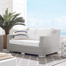 Conway Sunbrella® Outdoor Patio Wicker Rattan Loveseat in Light Gray White