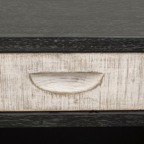 Rustic 1 Drawer Open Nightstand in Weathered Black and White