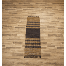See Details - Black & Brown Striped Leather Chindi 2x6 Rug (Each One Will Vary)