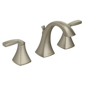 Voss brushed nickel two-handle bathroom faucet