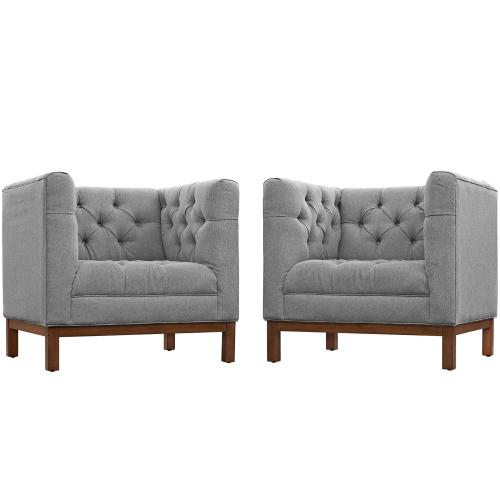 Panache Living Room Set Upholstered Fabric Set of 2 in Expectation Gray