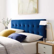 View Product - Emily King Biscuit Tufted Performance Velvet Headboard in Navy