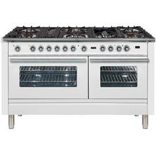 See Details - Professional Plus 60 Inch Dual Fuel Liquid Propane Freestanding Range in White with Chrome Trim
