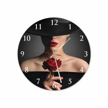 Women With Rose Round Acrylic Wall Clock
