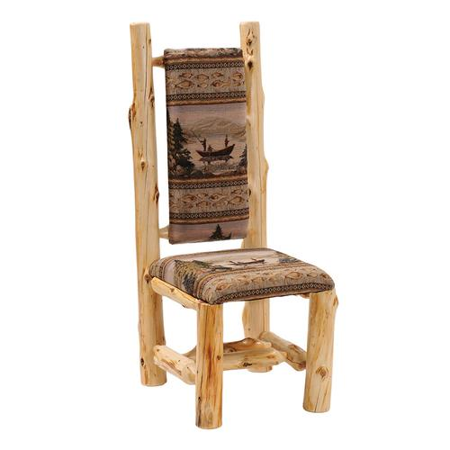 High-back Side Chair - Natural Cedar - Customer Fabric