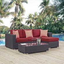 Convene 3 Piece Outdoor Patio Sofa Set in Espresso Red