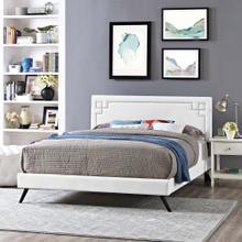 Ruthie Queen Vinyl Platform Bed with Round Splayed Legs in White