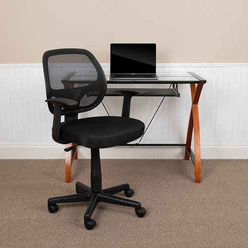 Flash Furniture - Flash Fundamentals Mid-Back Black Mesh Swivel Ergonomic Task Office Chair with Arms, BIFMA Certified
