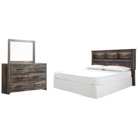 King/california King Bookcase Headboard With Mirrored Dresser