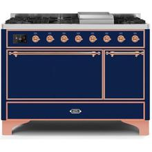 Majestic II 48 Inch Dual Fuel Liquid Propane Freestanding Range in Blue with Copper Trim