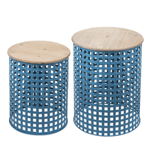 See Details - Blue Woven Base Nested Side Table (2 pc. set)