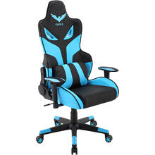 View Product - Hanover Commando Ergonomic Gaming Chair in Black and Electric Blue with Adjustable Gas Lift Seating and Lumbar Support, HGC0101