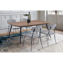 Messina and Alice Grey Velvet and Walnut 5 Piece Dining Set