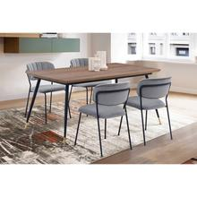 Messina and Carlo Grey Velvet and Walnut 5 Piece Dining Set