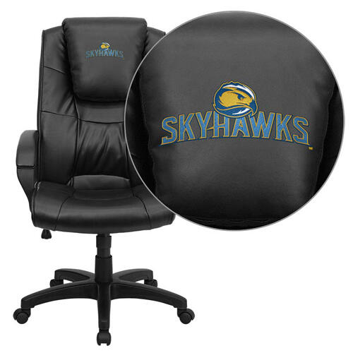 Fort Lewis College Skyhawks Embroidered Black Leather Executive Office Chair