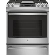 "GE 30"" Gas Slide-In Front Control Convection Range with Storage Drawer Stainless Steel JCGS760SELSS"