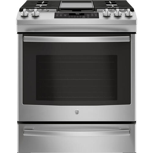 """GE 30"""" Gas Slide-In Front Control Convection Range with Storage Drawer Slate JCGS760EELES"""
