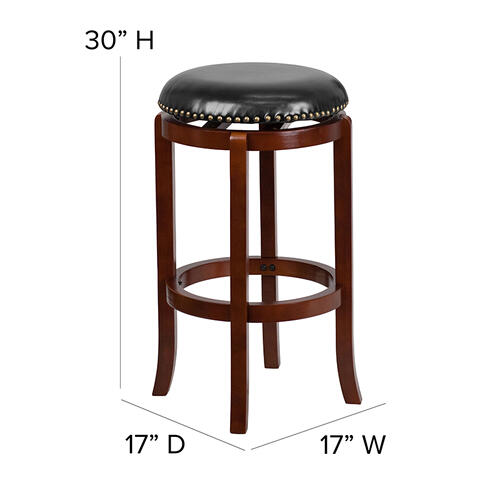 29'' High Backless Light Cherry Wood Barstool with Black LeatherSoft Swivel Seat