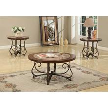 Cherry & Marble Coffee & End Table Set