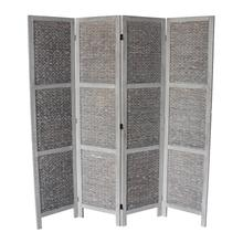 7047 GRAY Arrow Woven 4-Panel Room Divider