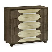 Gatsby Contemporary Dark Grey Walnut & Antique Champagne Silver-leaf Chest of Drawers