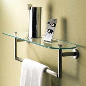 """Sine 24"""" Tempered Glass Shelf W/ Towel Bar - Polished Chrome Product Image"""