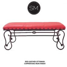 See Details - Red Leather Ottoman - Bench Handcrafted Wrought Iron Bench